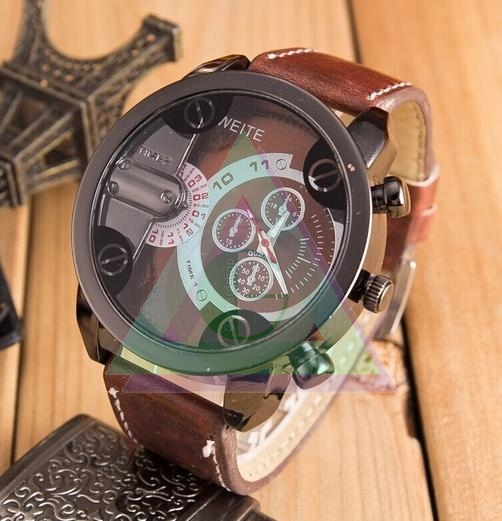 bk calendar complete shock bwin sports circle leather denim luxury quartz analog watches weite strap men football vintage wristwatch band brand watch