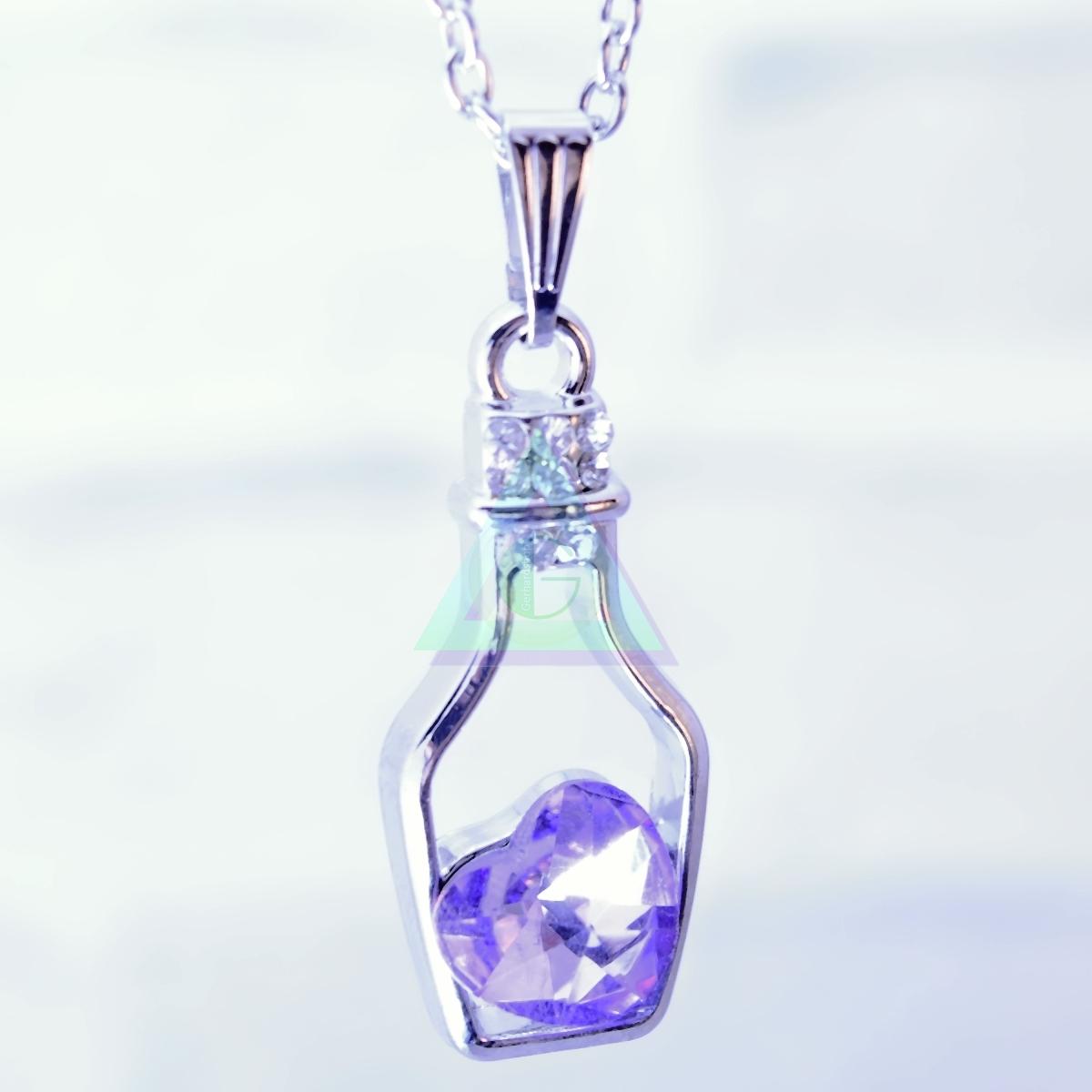 Náhrdelník Srdce vo fľaštičke (svetlý ametyst). Retiazka s príveskom 1cfe2e35bdd
